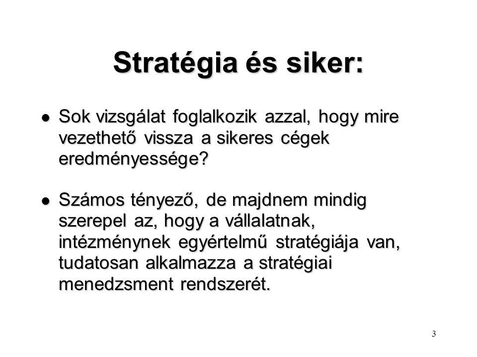 Stratégia és siker: Sok vizsgálat foglalkozik azzal, hogy mire vezethető vissza a sikeres cégek eredményessége