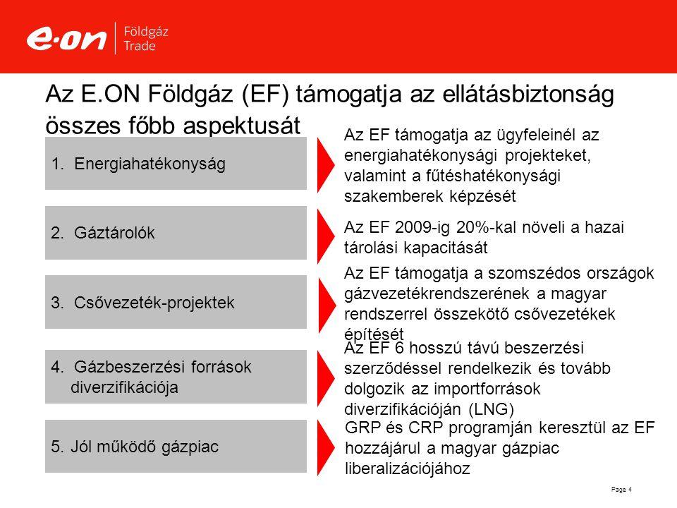 Az E.ON Földgáz (EF) támogatja az ellátásbiztonság összes főbb aspektusát