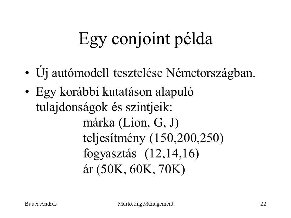 Egy conjoint példa Új autómodell tesztelése Németországban.