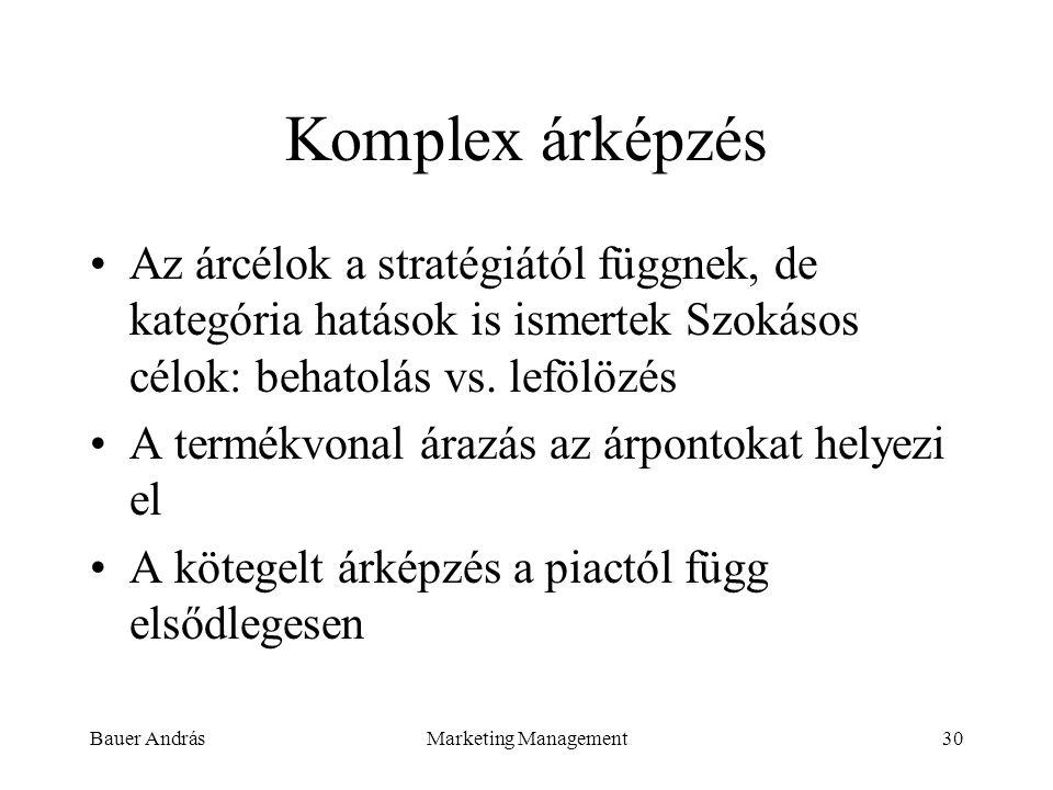 Komplex árképzés Az árcélok a stratégiától függnek, de kategória hatások is ismertek Szokásos célok: behatolás vs. lefölözés.