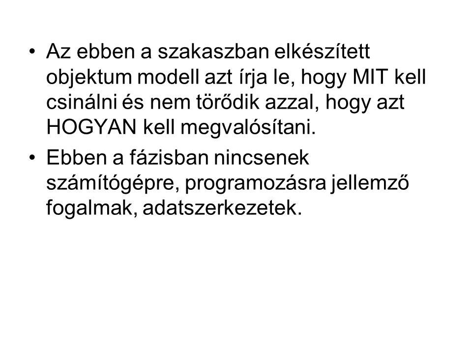 Az ebben a szakaszban elkészített objektum modell azt írja le, hogy MIT kell csinálni és nem törődik azzal, hogy azt HOGYAN kell megvalósítani.