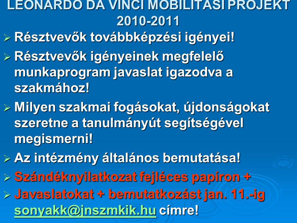 LEONARDO DA VINCI MOBILITÁSI PROJEKT 2010-2011