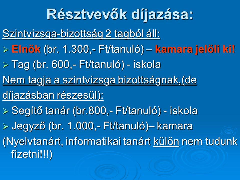 Résztvevők díjazása: Szintvizsga-bizottság 2 tagból áll: