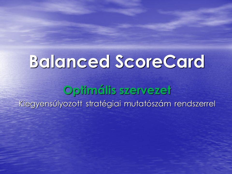 Optimális szervezet Kiegyensúlyozott stratégiai mutatószám rendszerrel