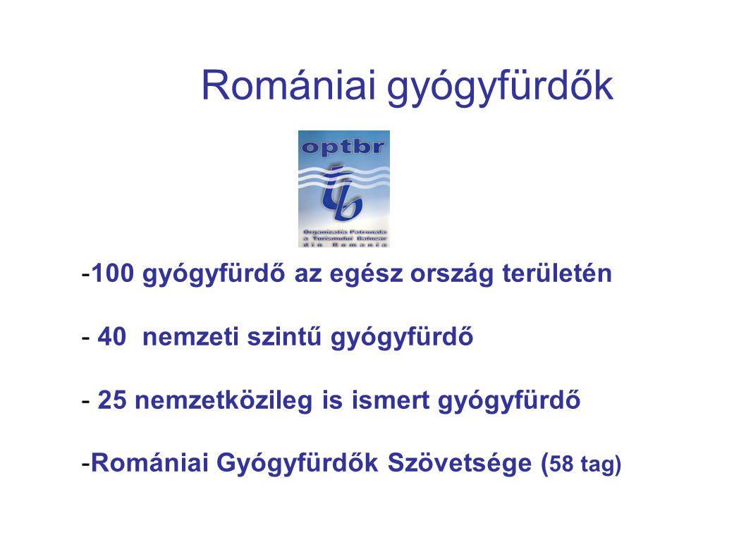Romániai gyógyfürdők 100 gyógyfürdő az egész ország területén