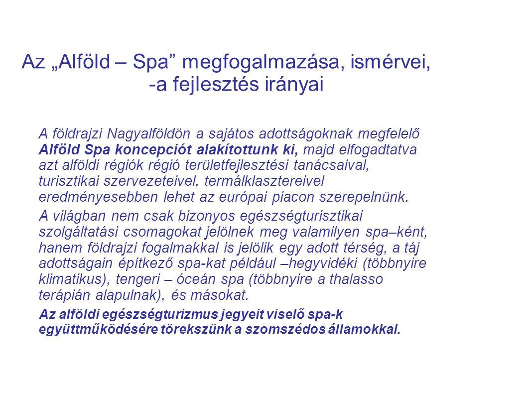 """Az """"Alföld – Spa megfogalmazása, ismérvei, -a fejlesztés irányai"""