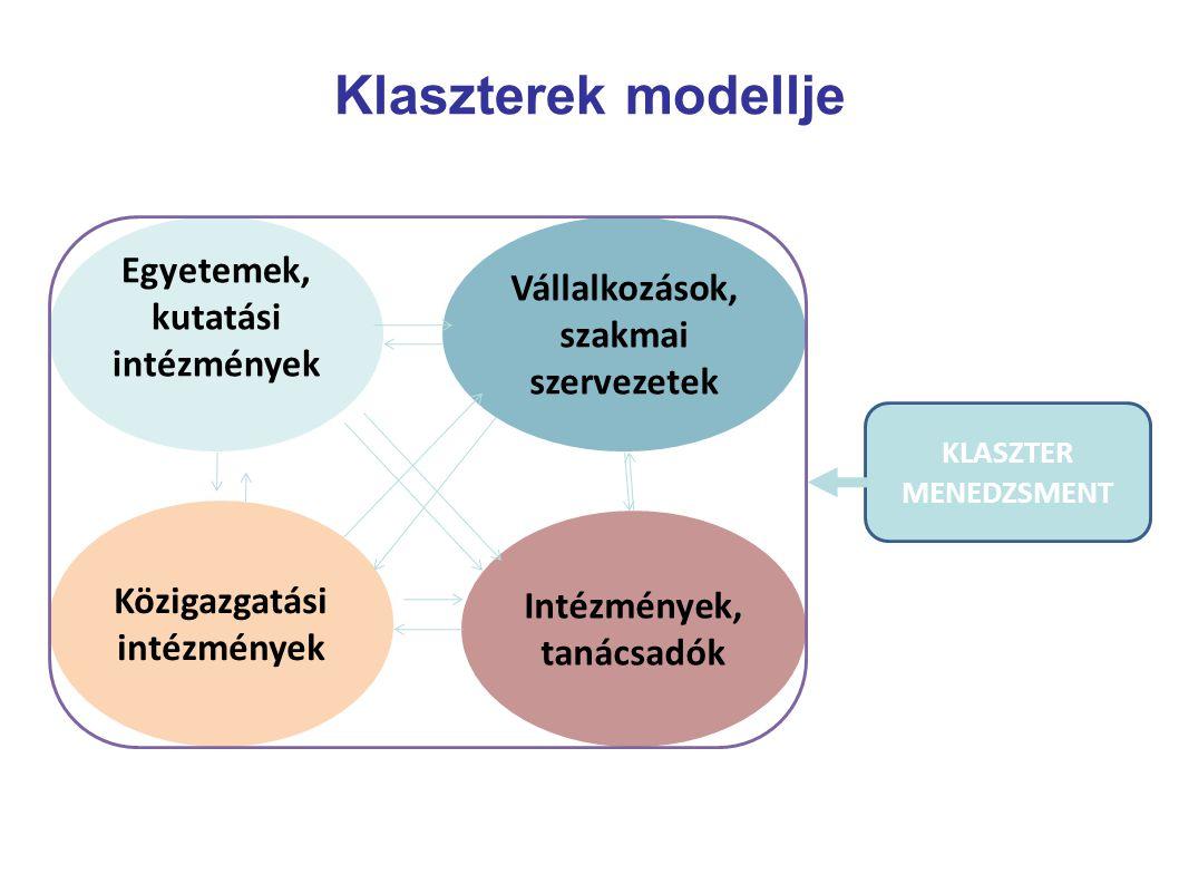 Klaszterek modellje Egyetemek, kutatási intézmények