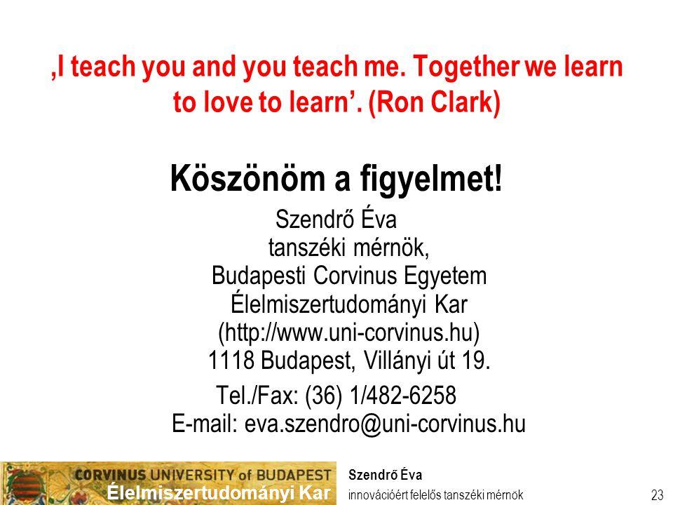 Tel./Fax: (36) 1/482-6258 E-mail: eva.szendro@uni-corvinus.hu