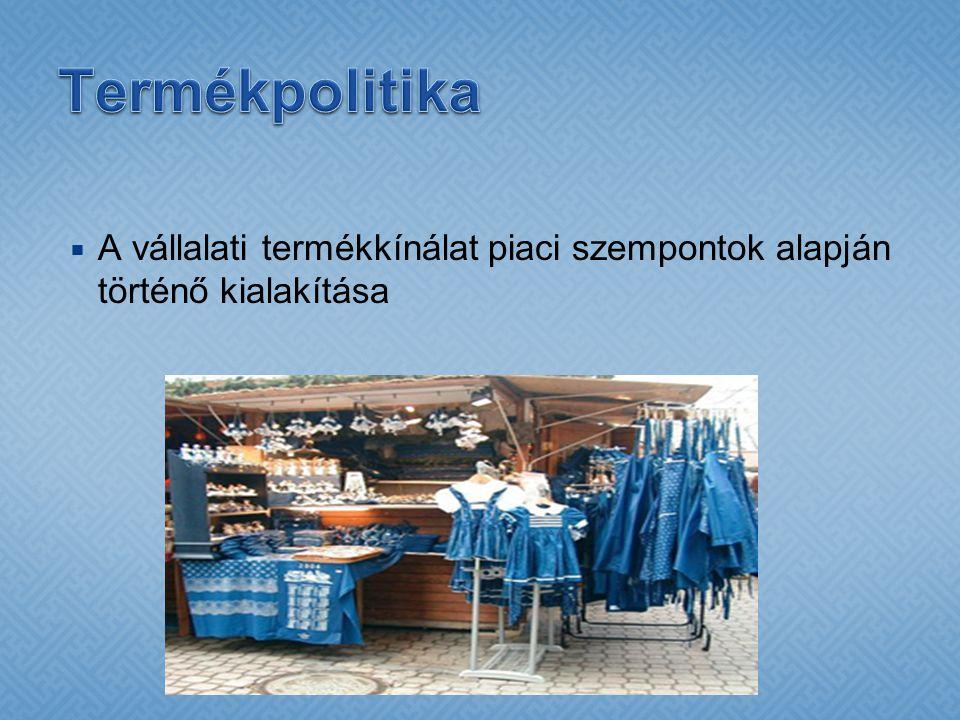 Termékpolitika A vállalati termékkínálat piaci szempontok alapján történő kialakítása