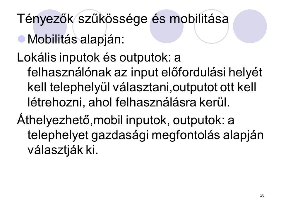 Tényezők szűkössége és mobilitása