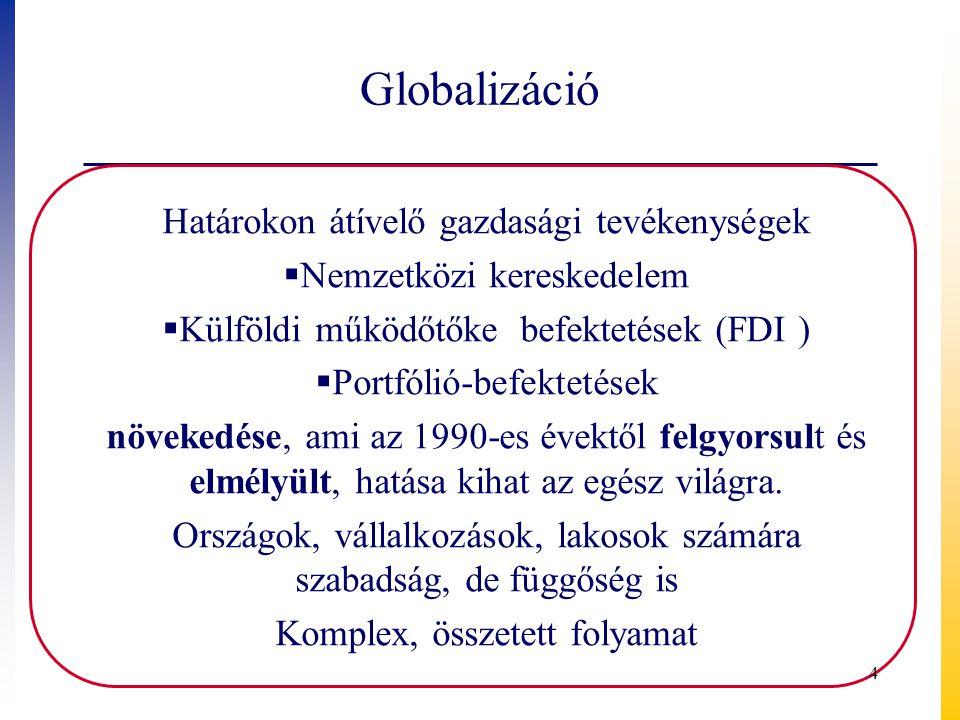 Globalizáció Határokon átívelő gazdasági tevékenységek