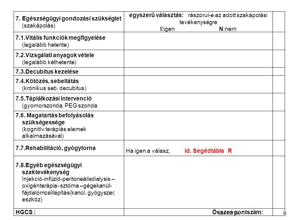 7. Egészségügyi gondozási szükséglet (szakápolás)