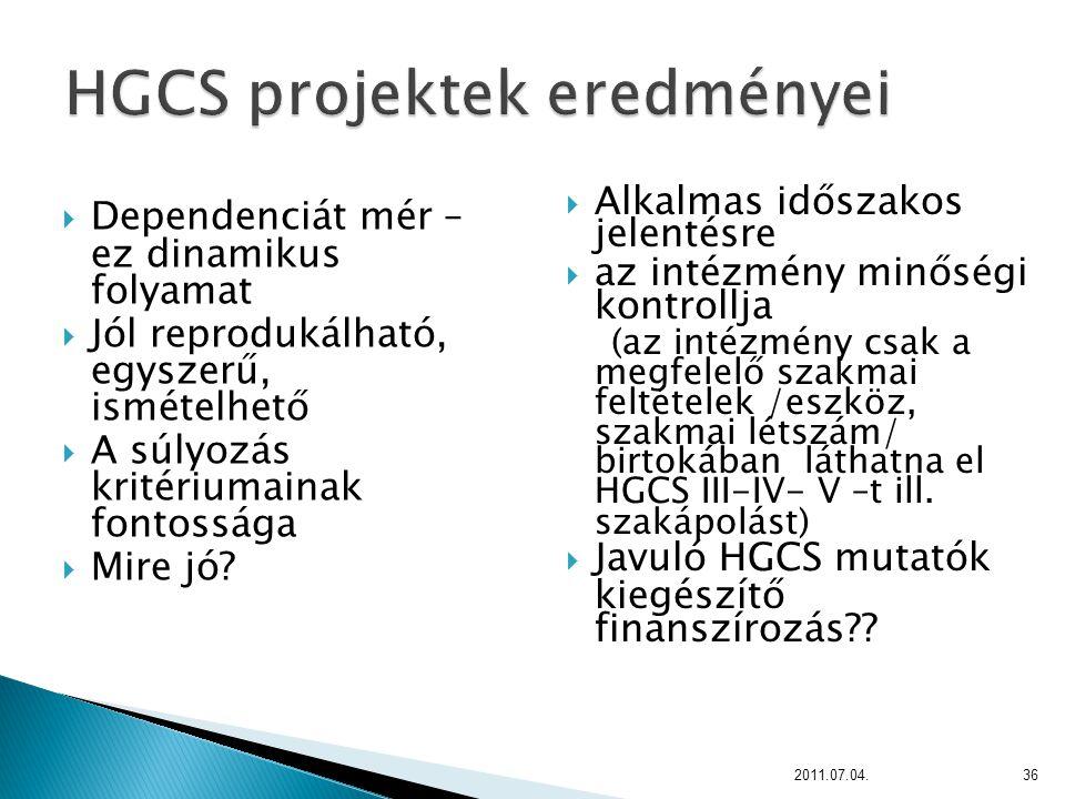 HGCS projektek eredményei