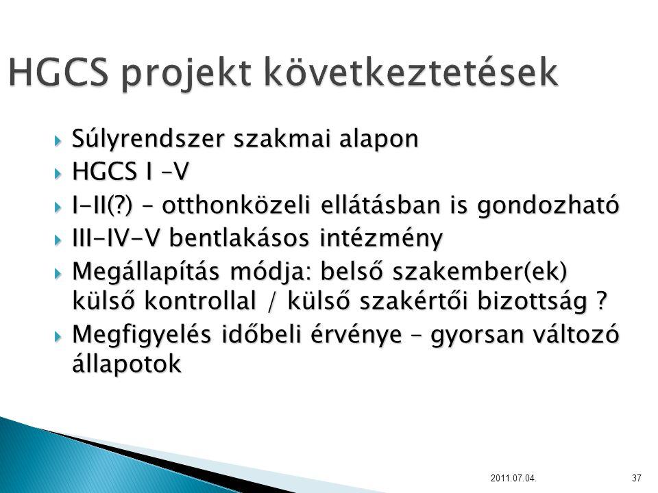 HGCS projekt következtetések