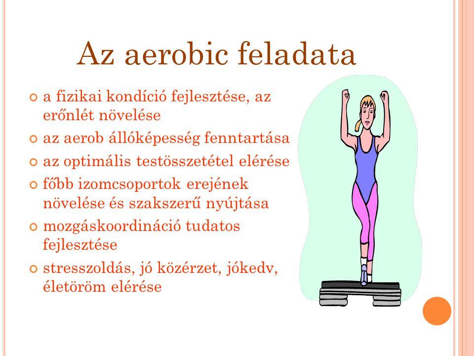 Az aerobic feladata a fizikai kondíció fejlesztése, az erőnlét növelése. az aerob állóképesség fenntartása.