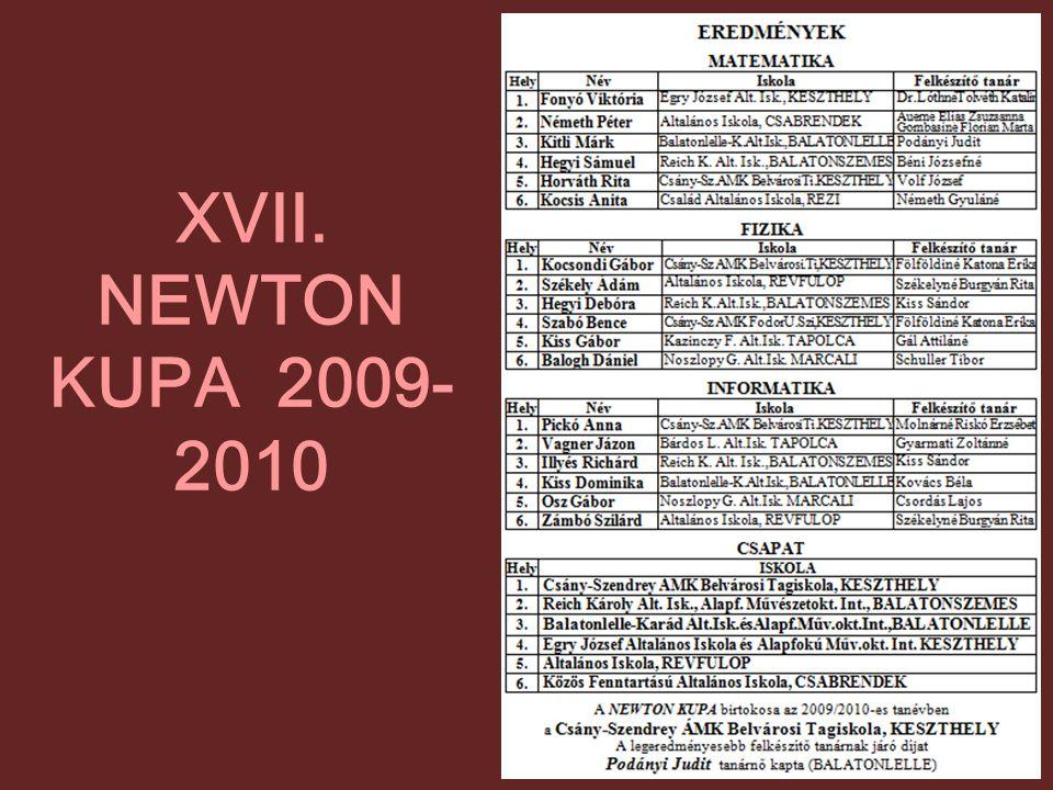 XVII. NEWTON KUPA 2009-2010
