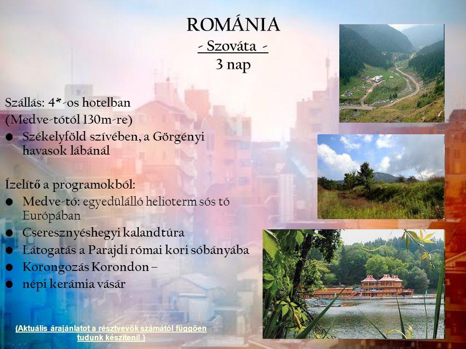 ROMÁNIA - Szováta - 3 nap Szállás: 4*-os hotelban