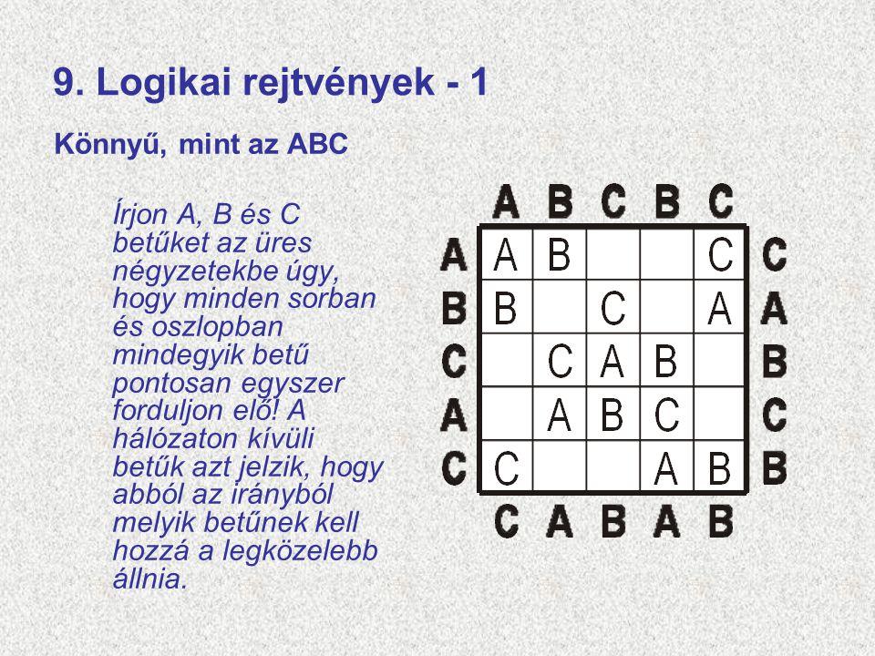 9. Logikai rejtvények - 1 Könnyű, mint az ABC