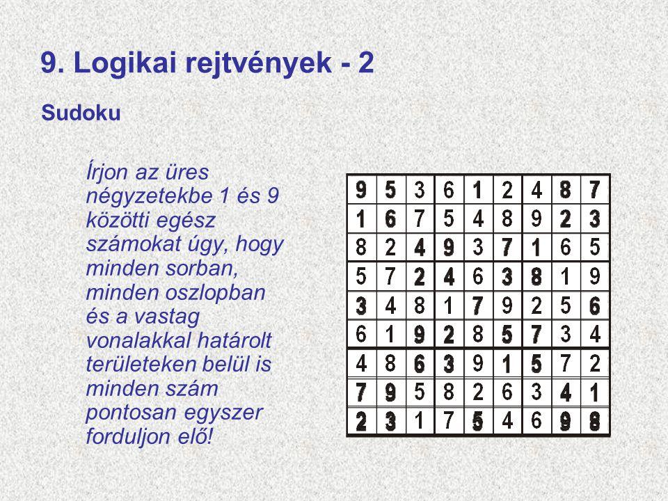 9. Logikai rejtvények - 2 Sudoku