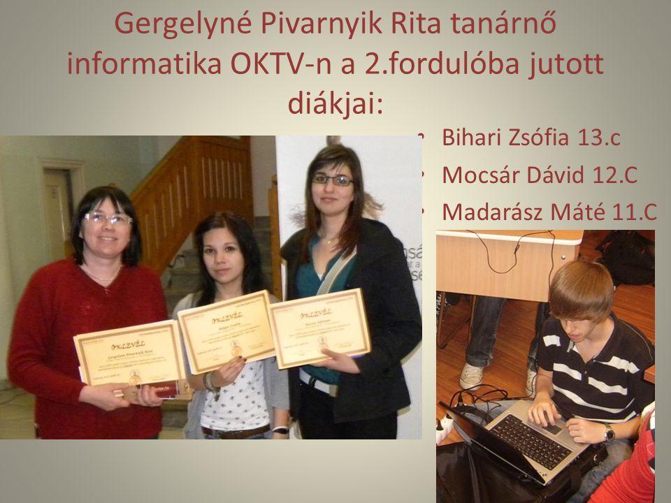 Gergelyné Pivarnyik Rita tanárnő informatika OKTV-n a 2