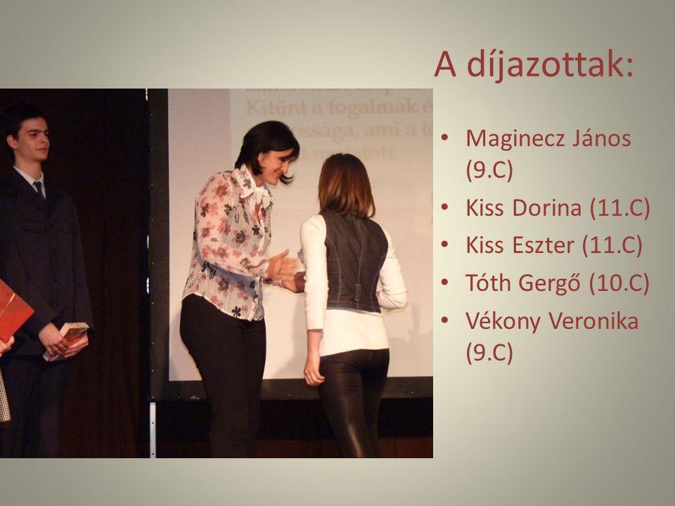 A díjazottak: Maginecz János (9.C) Kiss Dorina (11.C)