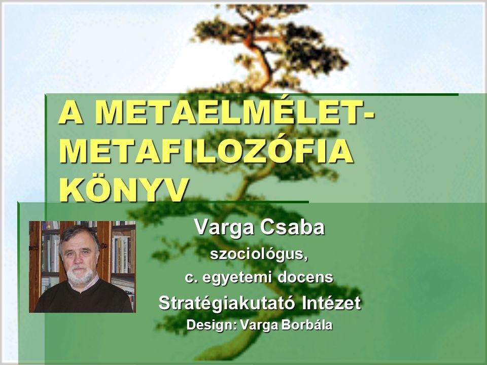 A METAELMÉLET- METAFILOZÓFIA KÖNYV