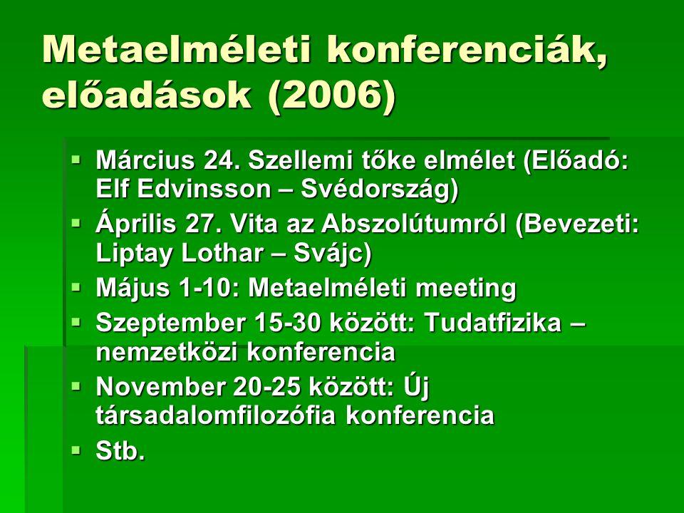 Metaelméleti konferenciák, előadások (2006)