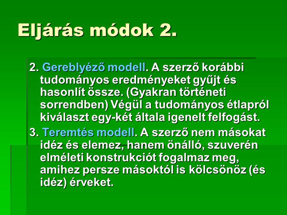Eljárás módok 2.