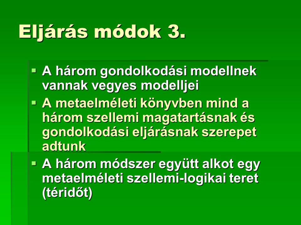 Eljárás módok 3. A három gondolkodási modellnek vannak vegyes modelljei.
