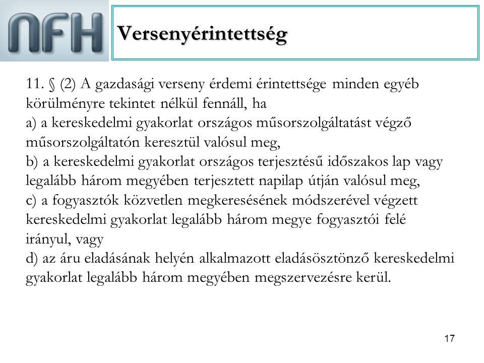 Versenyérintettség 11. § (2) A gazdasági verseny érdemi érintettsége minden egyéb körülményre tekintet nélkül fennáll, ha.
