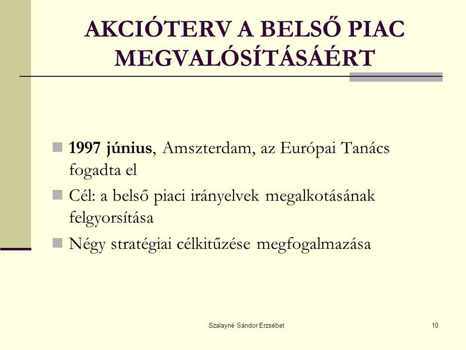 AKCIÓTERV A BELSŐ PIAC MEGVALÓSÍTÁSÁÉRT