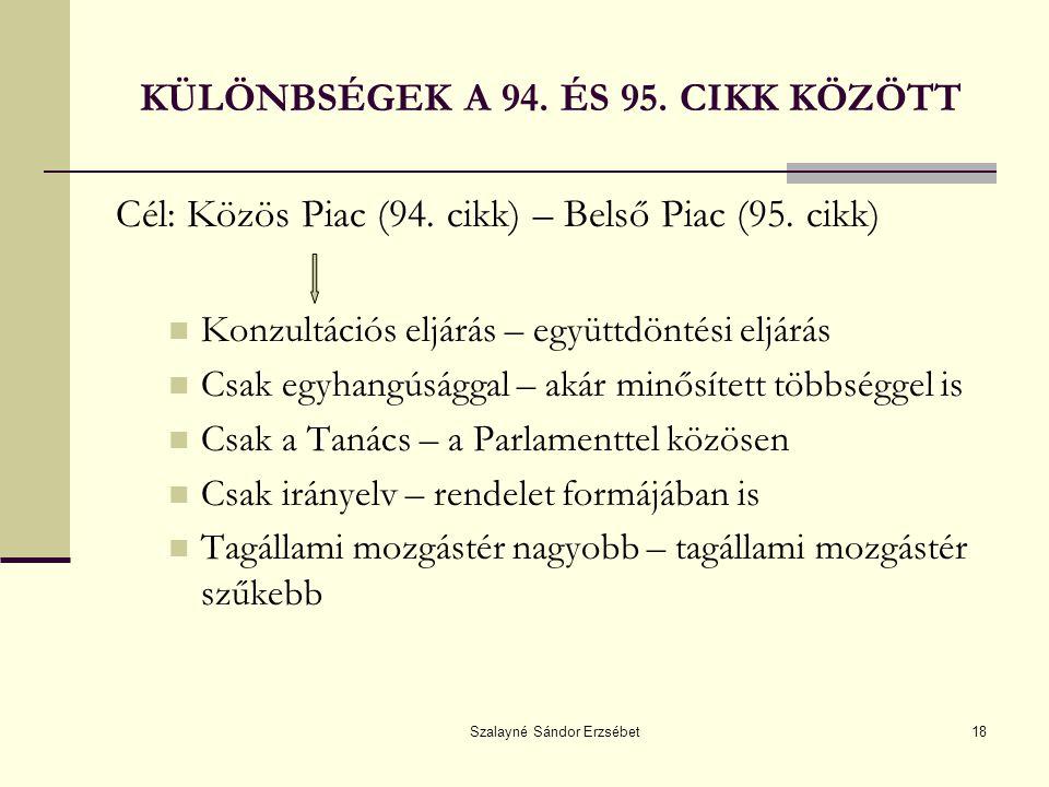 KÜLÖNBSÉGEK A 94. ÉS 95. CIKK KÖZÖTT