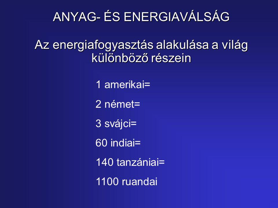 ANYAG- ÉS ENERGIAVÁLSÁG