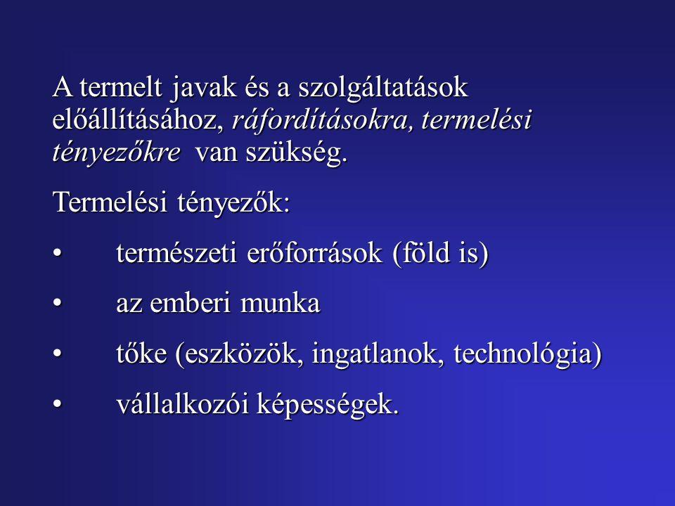 A termelt javak és a szolgáltatások előállításához, ráfordításokra, termelési tényezőkre van szükség.