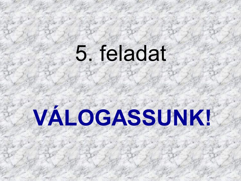 5. feladat VÁLOGASSUNK!