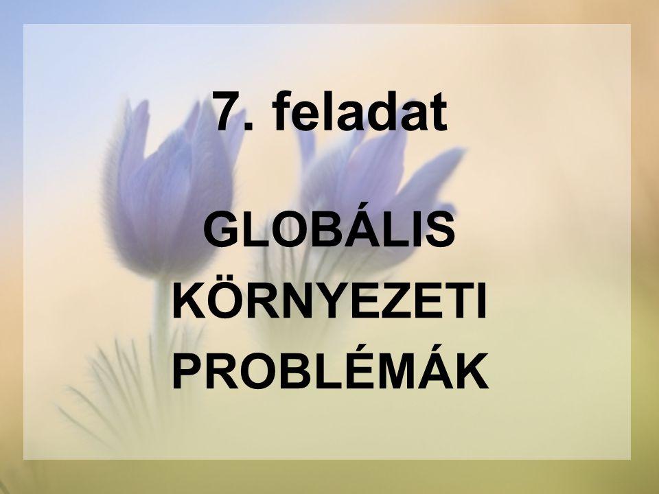 7. feladat GLOBÁLIS KÖRNYEZETI PROBLÉMÁK