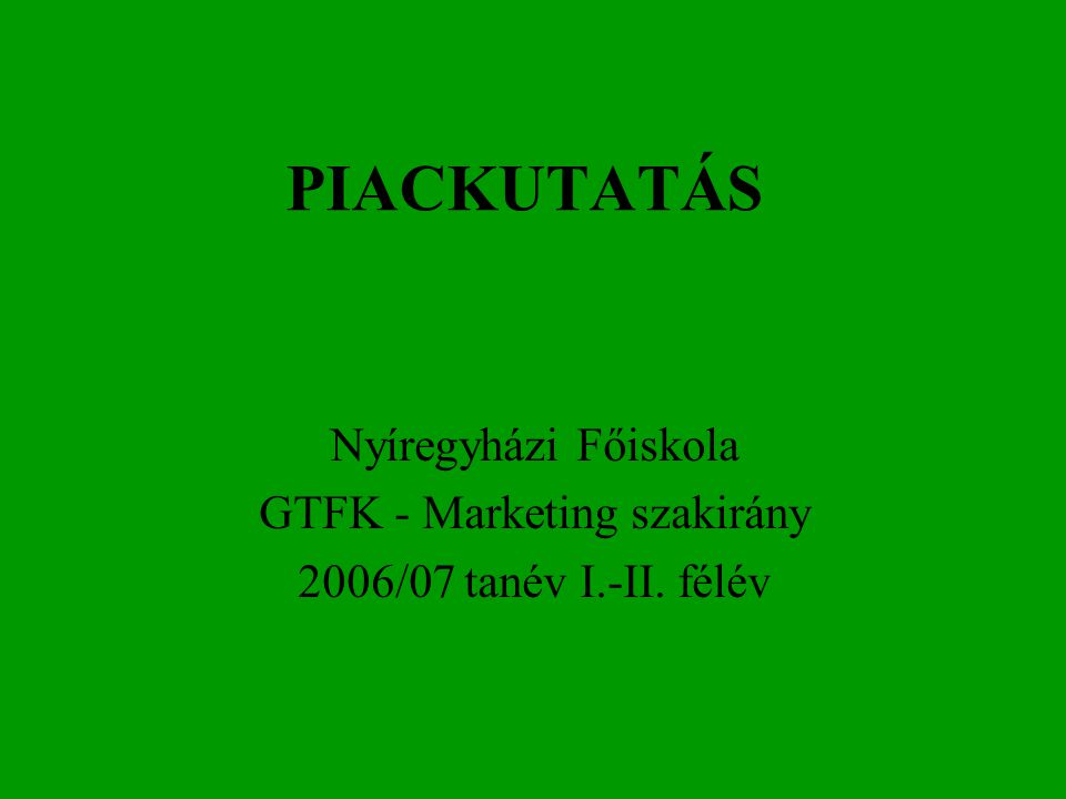 GTFK - Marketing szakirány