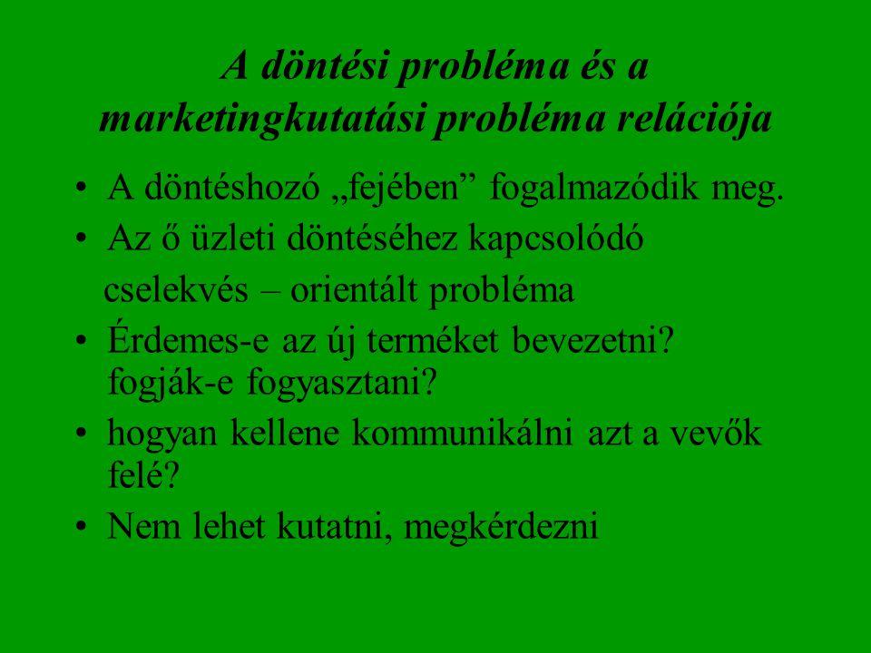 A döntési probléma és a marketingkutatási probléma relációja