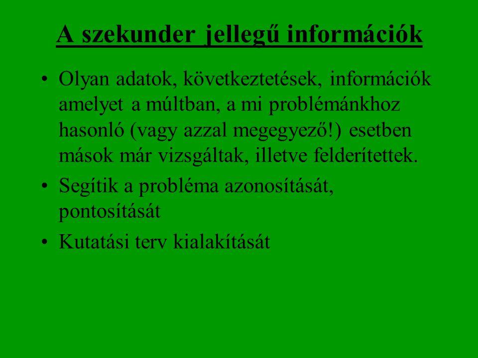 A szekunder jellegű információk