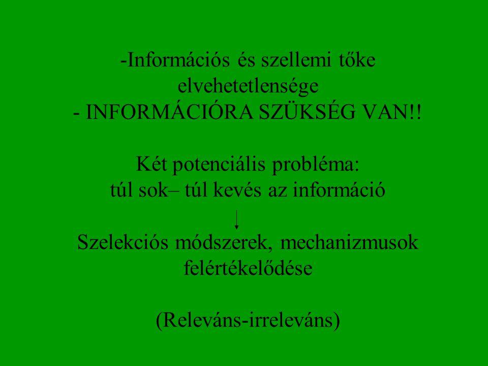 Információs és szellemi tőke elvehetetlensége - INFORMÁCIÓRA SZÜKSÉG VAN!.