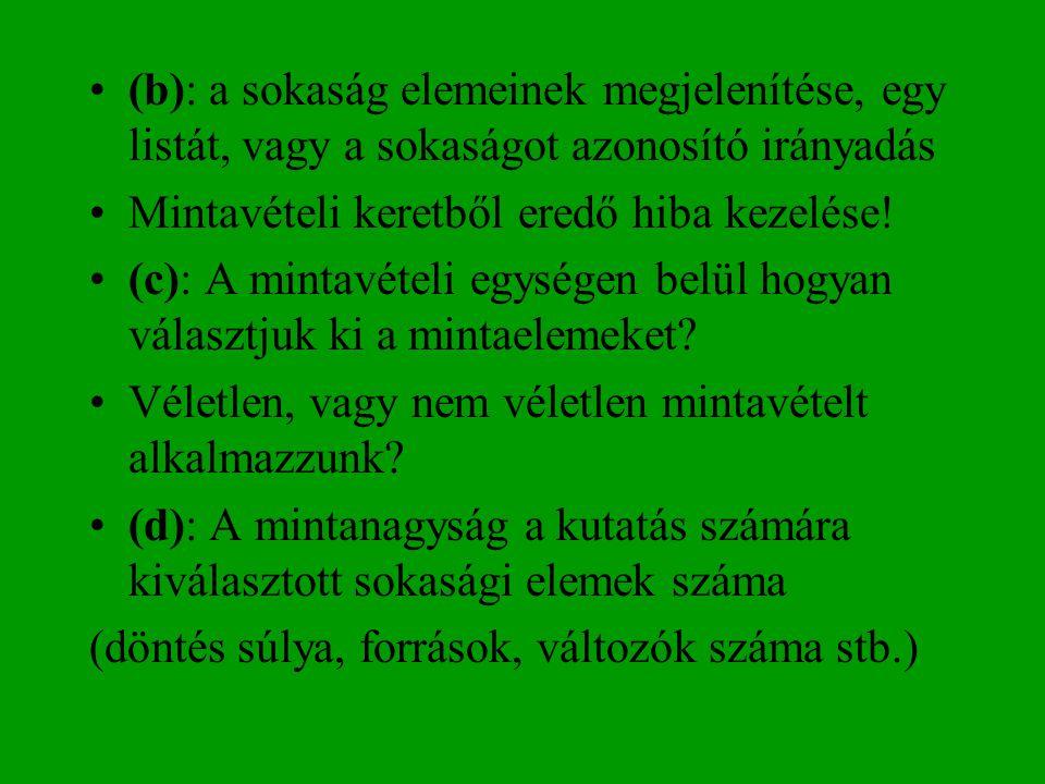 (b): a sokaság elemeinek megjelenítése, egy listát, vagy a sokaságot azonosító irányadás