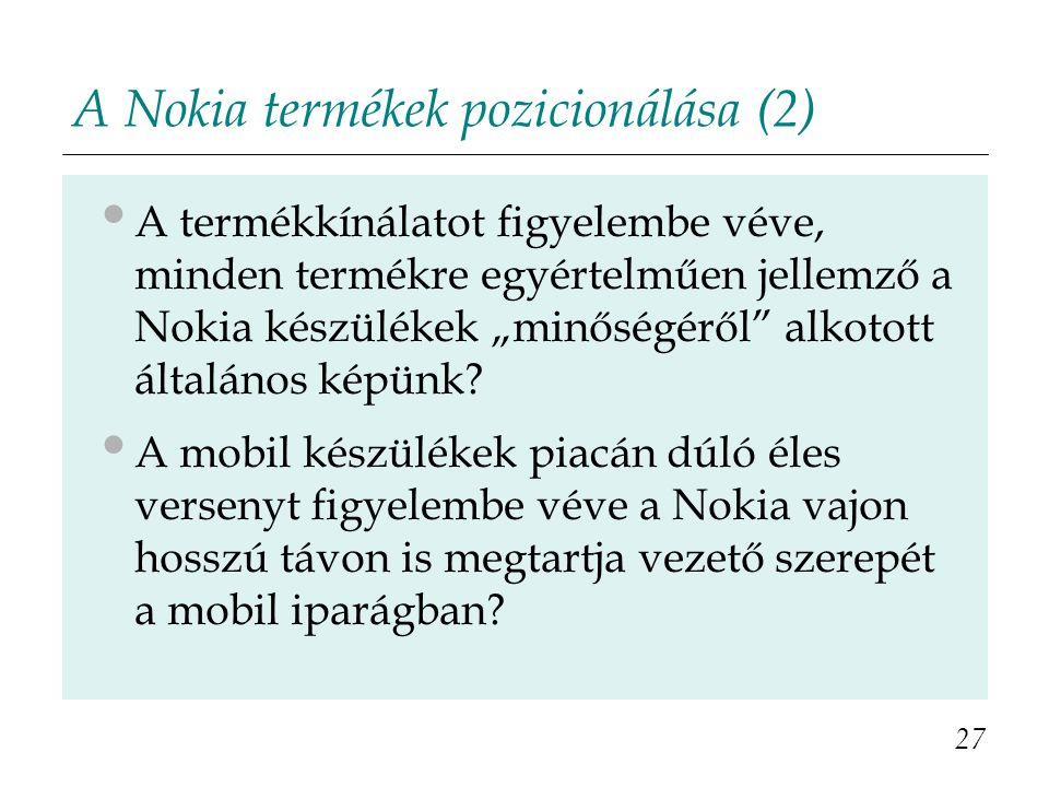 A Nokia termékek pozicionálása (2)