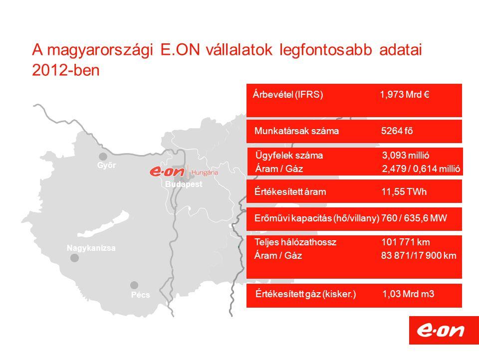 A magyarországi E.ON vállalatok legfontosabb adatai 2012-ben