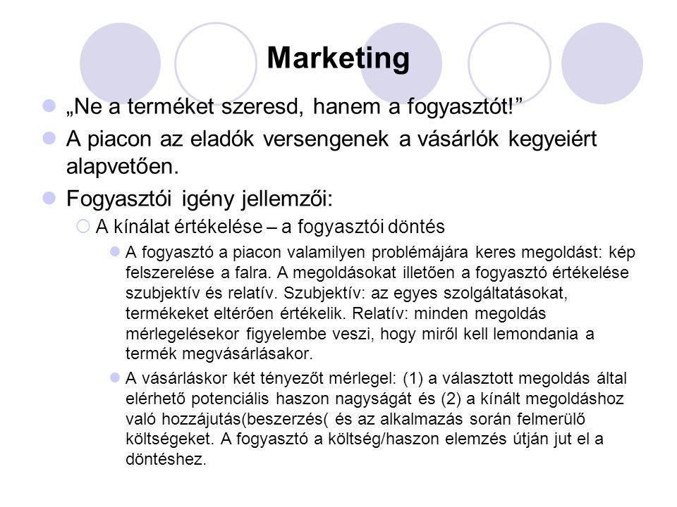"""Marketing """"Ne a terméket szeresd, hanem a fogyasztót!"""