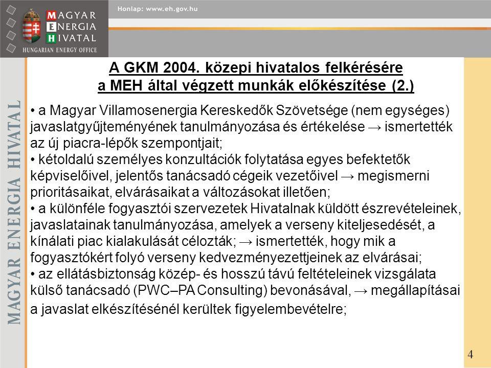 A GKM 2004. közepi hivatalos felkérésére a MEH által végzett munkák előkészítése (2.)