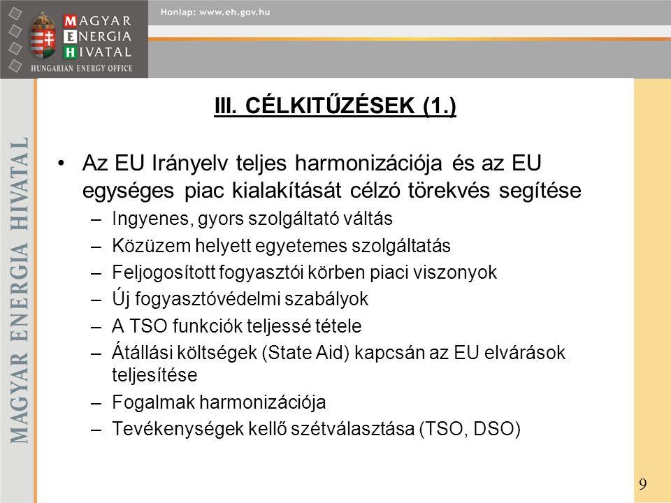 III. CÉLKITŰZÉSEK (1.) Az EU Irányelv teljes harmonizációja és az EU egységes piac kialakítását célzó törekvés segítése.