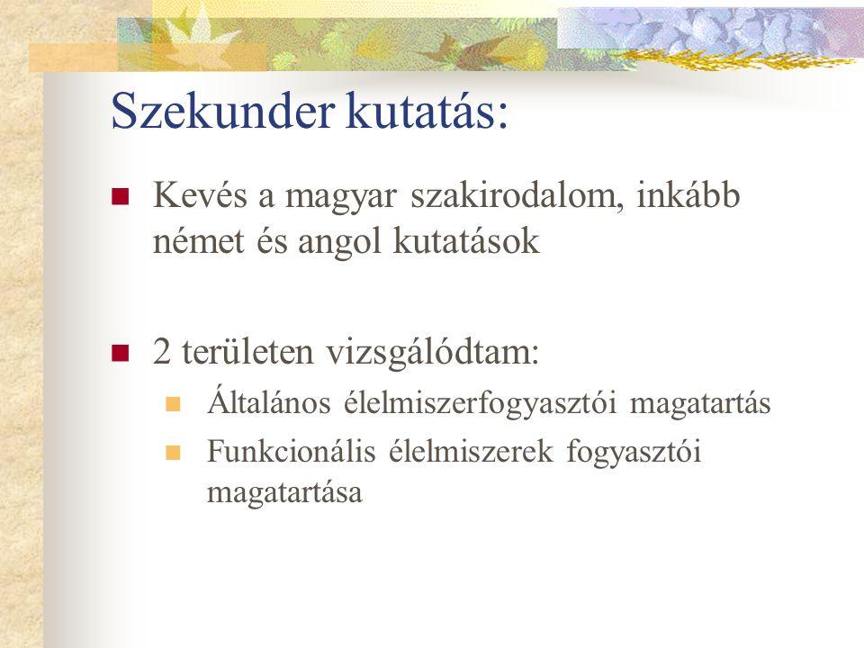 Szekunder kutatás: Kevés a magyar szakirodalom, inkább német és angol kutatások. 2 területen vizsgálódtam: