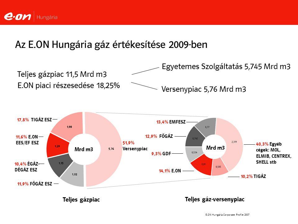 Az E.ON Hungária gáz értékesítése 2009-ben