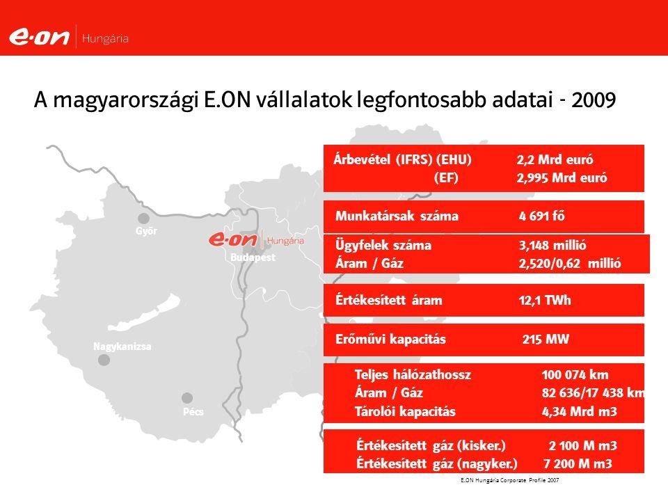A magyarországi E.ON vállalatok legfontosabb adatai - 2009
