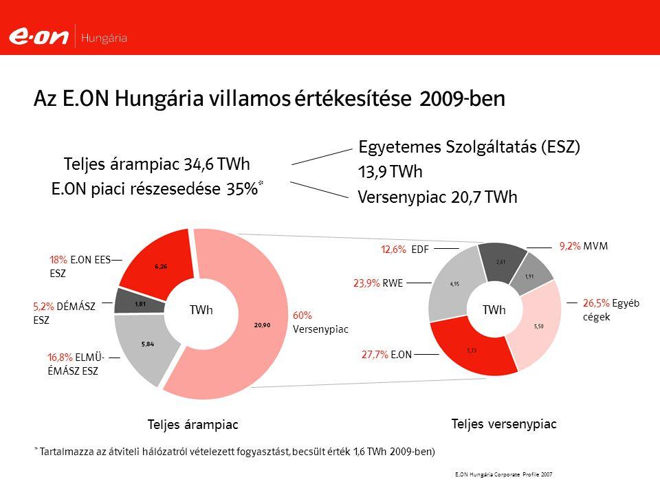Az E.ON Hungária villamos értékesítése 2009-ben